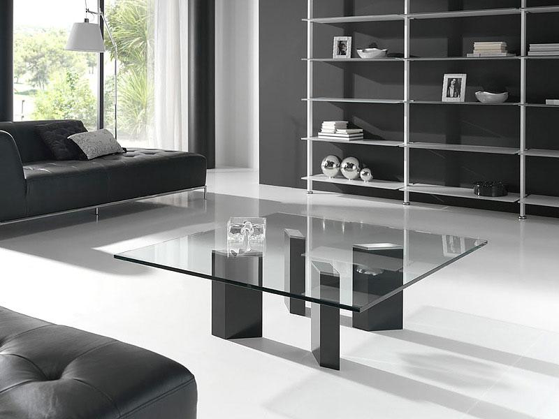 logic square glass coffee table