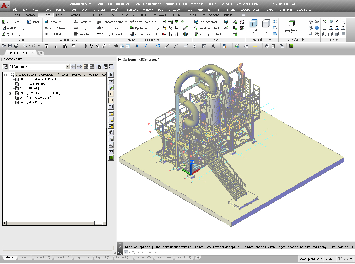 hight resolution of intergrated 3d plant plant equipment pipeline planning