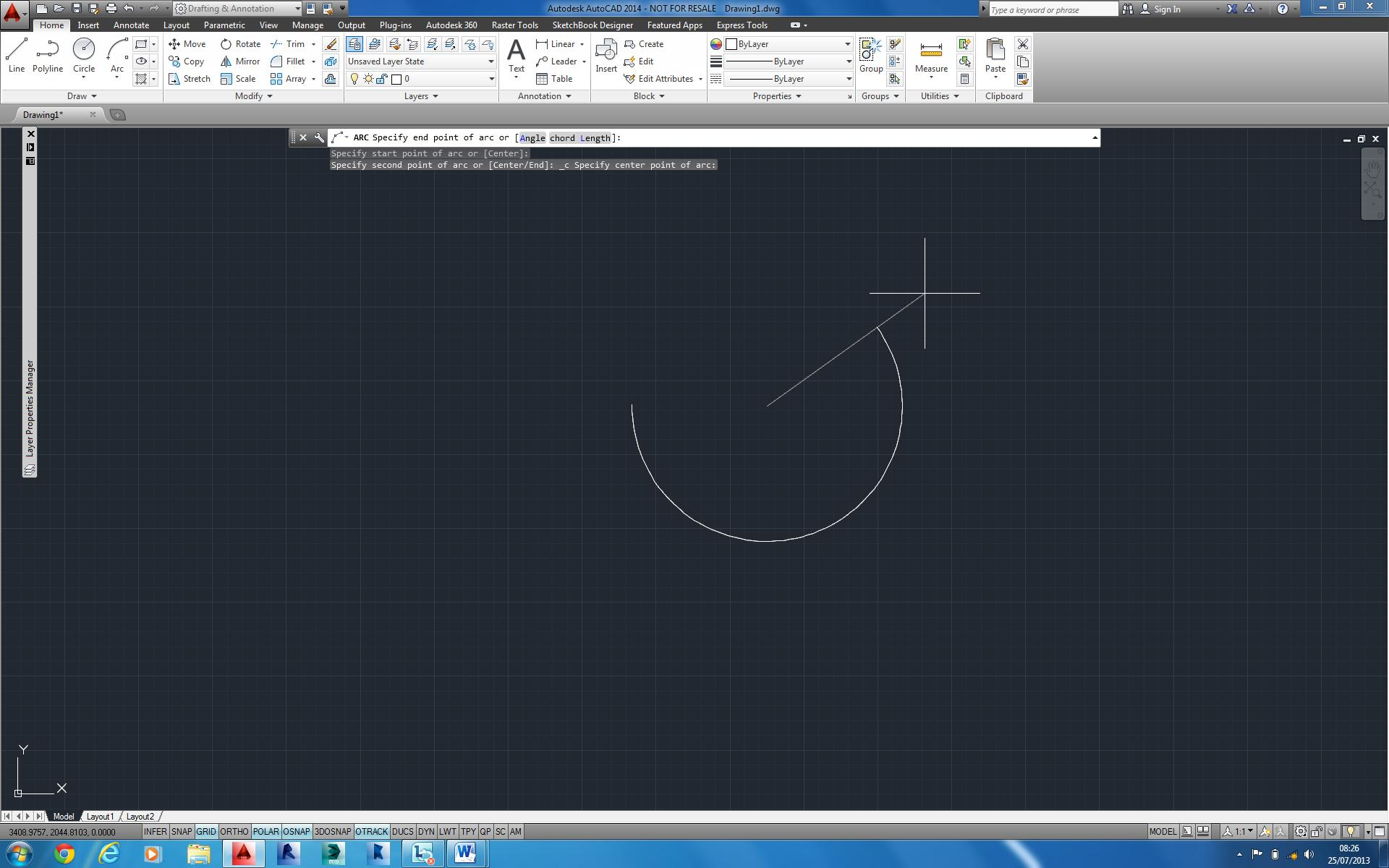 hight resolution of controlling the direction of an arc autocad 2014