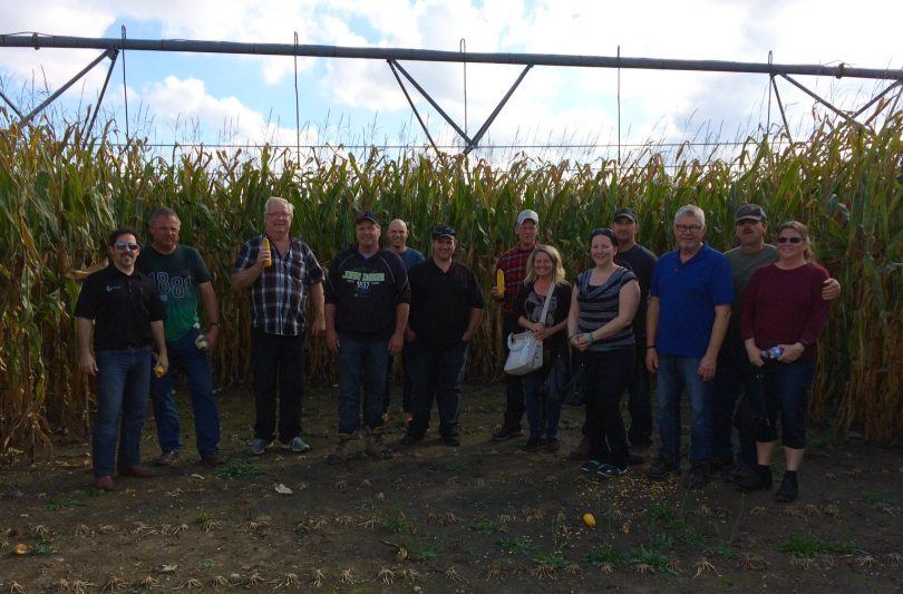 The crew checking out fertigated corn in Exeter.