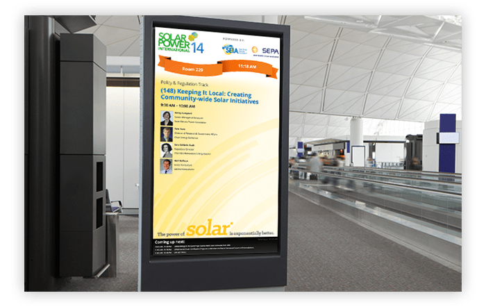 CadmiumCD sent data from the Conference Harvester directly to Solar Power International (SPI)'s digital signage at their annual conference.