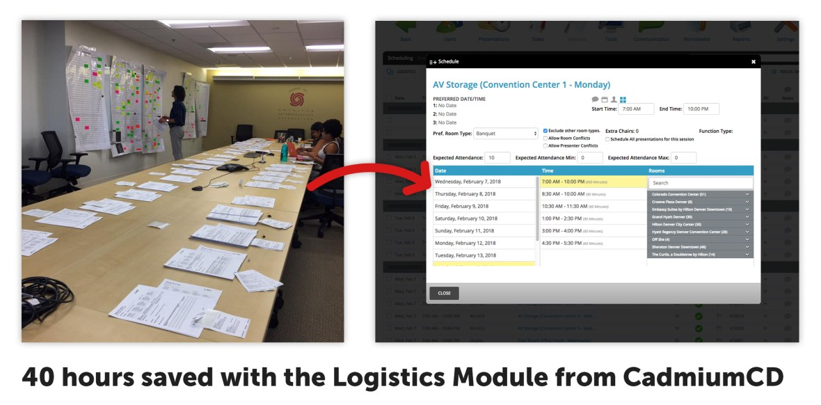 ALA, along with other major organizations like ADA, WVC, MLA, and AAAnthro, have been in the process of Beta Testing the Logistics Module for the past year and a half so that it is ready for use by all meeting organizers in 2019. One organization calculated over 40 hours of labor saved after using the system.