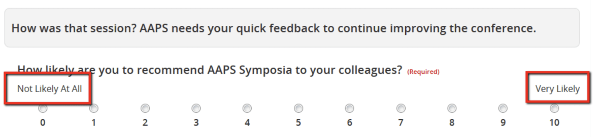 The Survey Magnet now supports a new question type - net promoter score. This question can be used to ask attendees to rate your organization's event on a scale from 1-10.