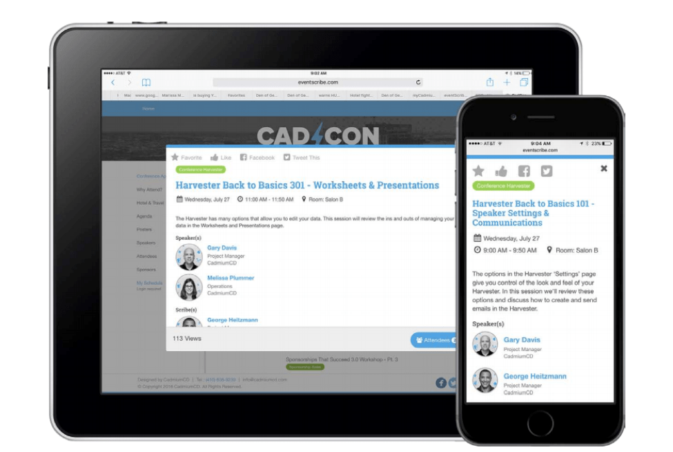 Screenshot of what a conference session looks like on eventScribe website version 2.0 on both an iPad and iPhone.