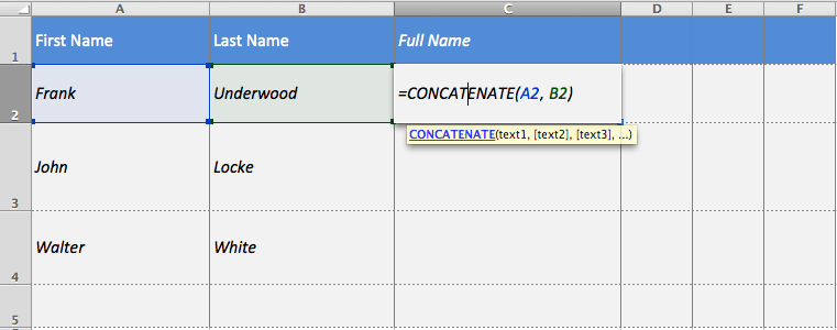 Excel's concatenate function allows you to merge text from multiple cells into one.