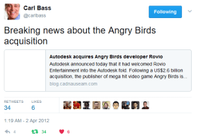 Autodesk acquires Angry Birds developer Rovio (repost)