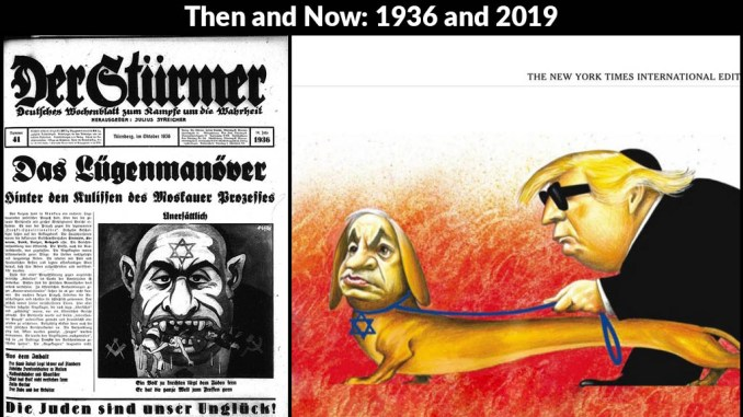 """(Left) A cartoon published in 1936 by Der Sturmer, a weekly German tabloid. The caption reads,""""Far be it from the Jews to enslave a single people. Their goal is to devour the entire world."""" (Right) The cartoon published by The New York Times on April 25, 2019."""