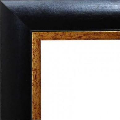 encadrement bois noir mat bord dore