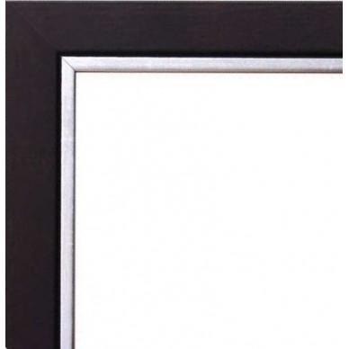 cadre bois noir bord argent avec verre