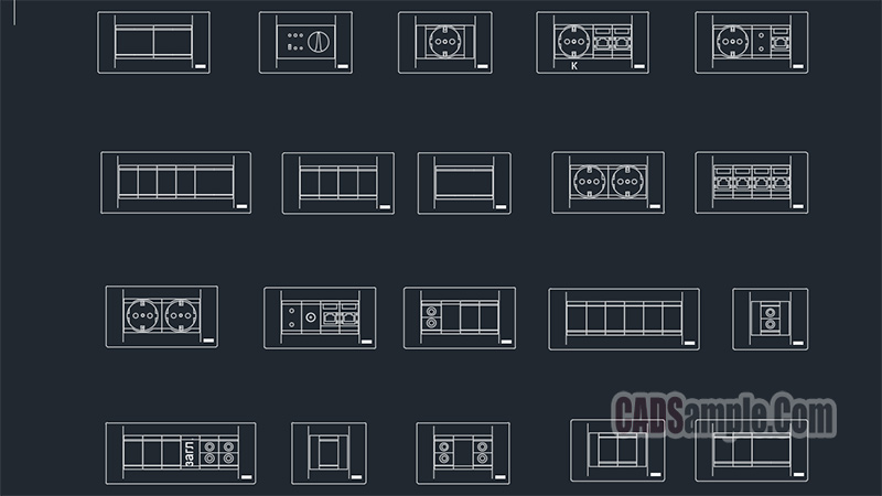 sockets switches cad blocks