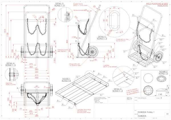 Orthographic and technical drawing CAD design and assembly
