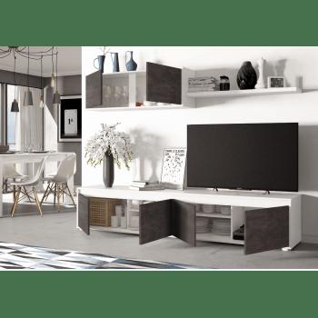 ensemble meuble tv 200 cm blanc mat et oxyde