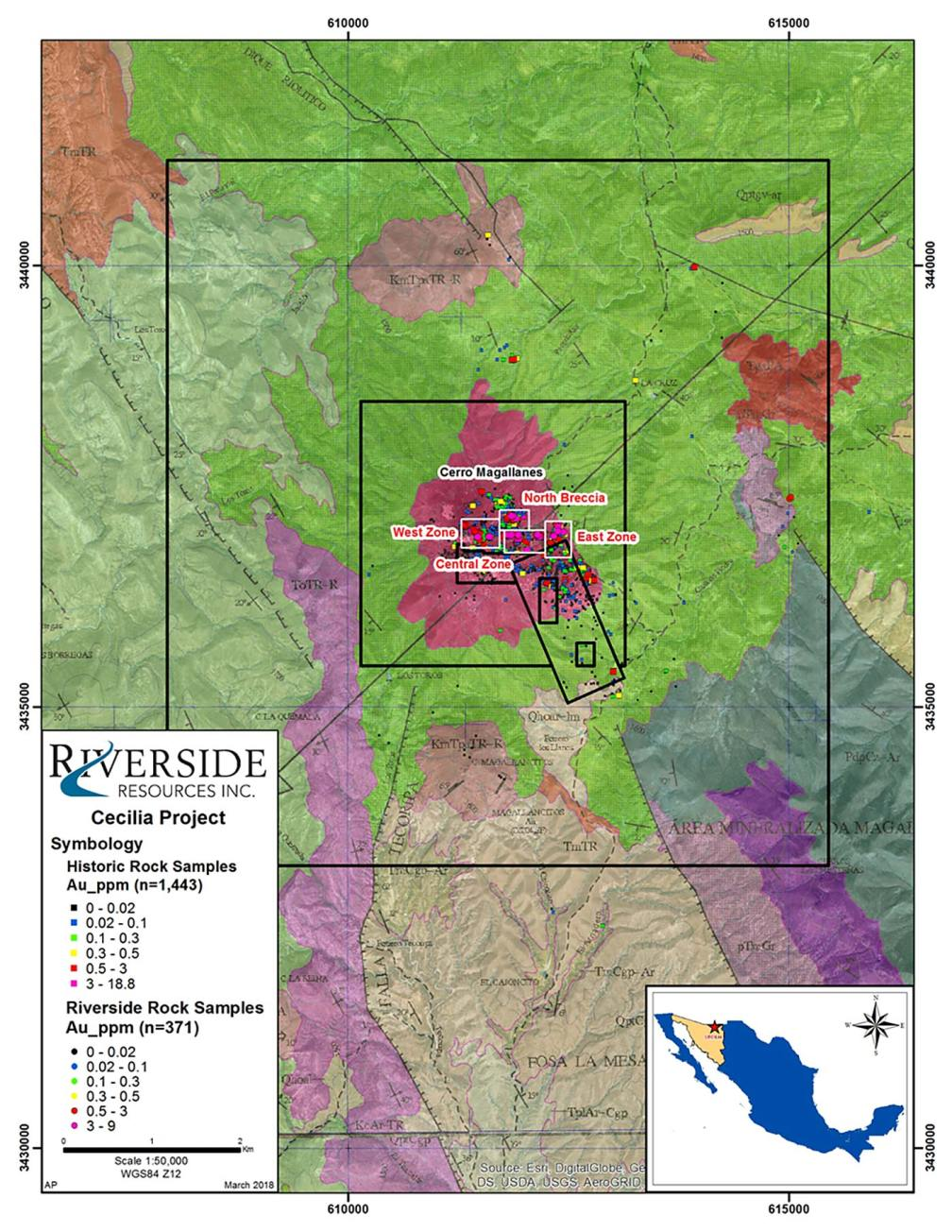 In March of 2018, Riverside was granted the mineral rights to the Cecilia 1 concession, which had been applied for in November of 2017. Obtaining the Cecilia 1 claim significantly increases the total area covered by Riverside's Cecilia Gold Project. The expanded project area now covers approximately 6,000 hectares, about 6.7 times greater than the original area of the Project.