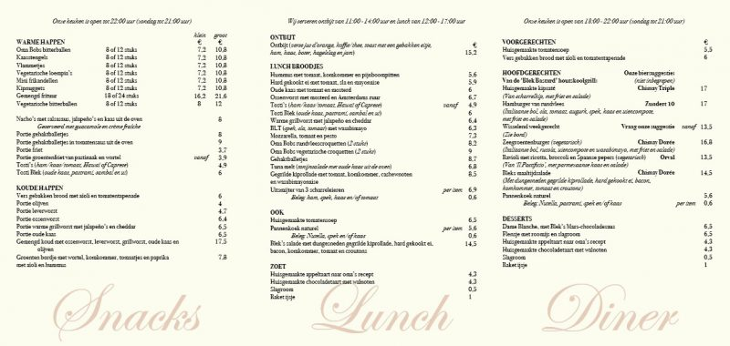 Cafe Blek Menu-2020 Eten