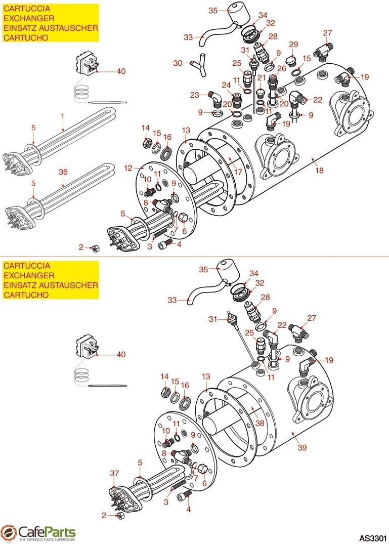 hight resolution of espresso machine parts astoria rio cma boiler with