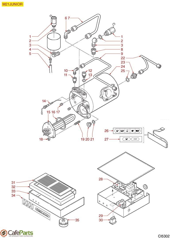 hight resolution of espresso machine parts cimbali boiler m21 junior cafeparts