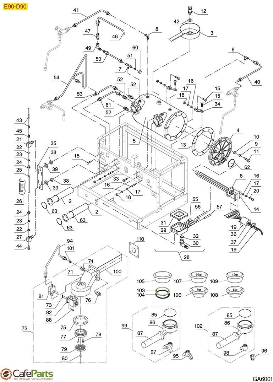 medium resolution of espresso machine parts gaggia e90 d90 group boiler