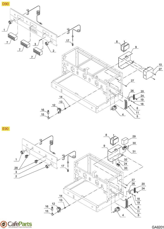 hight resolution of espresso machine parts gaggia e90 d90 electrical system