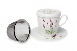 Taza de té de porcelana con infusor de acero inoxidable