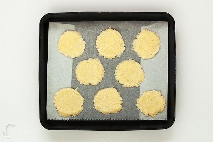 Pastas de coco: masa antes de hornear