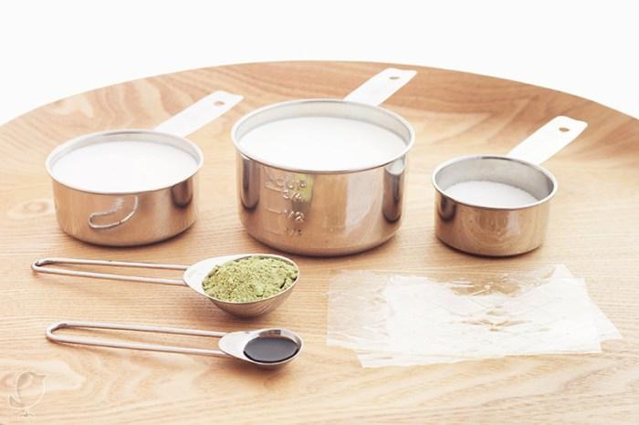 Panna cotta de té matcha y vainilla: ingredientes