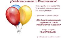 Promoción 13 aniversario de Café Té Arte