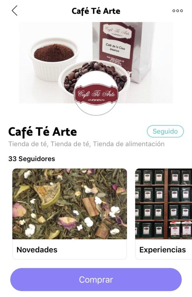 Perfil de Café Té Arte en Loycus, aplicacion de compras