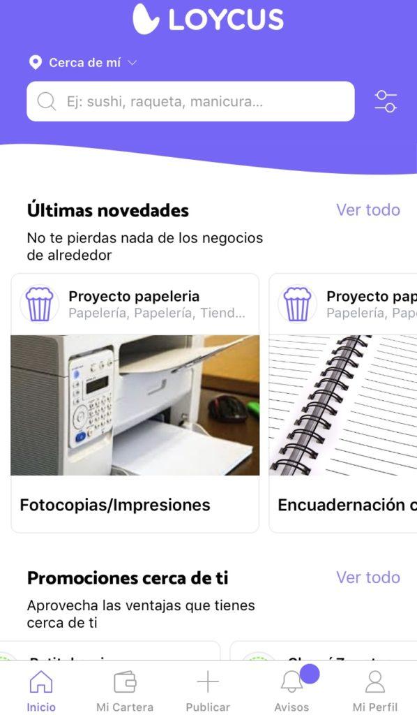 Interfaz de Loycus, aplicacion de compras