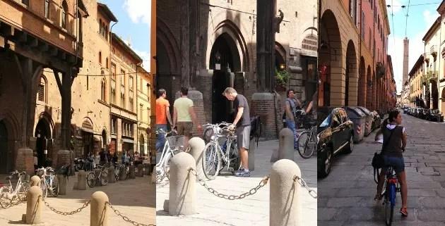 O pórtico mais antigo de Bologna e o marido estacionando as bikes em frente ao restaurante