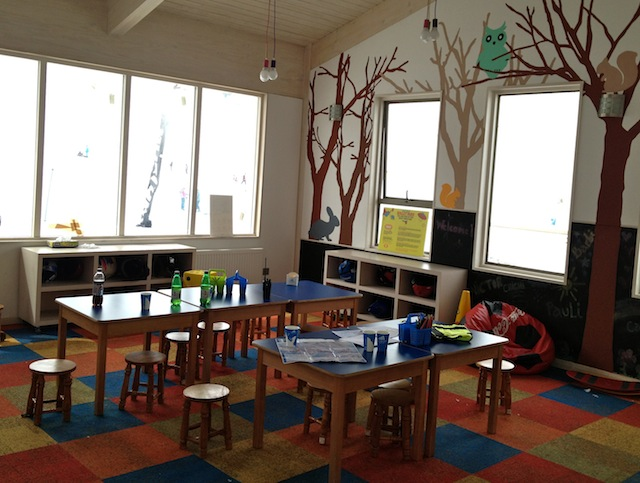 A sala de recreação para as crianças descansarem e se aquecerem