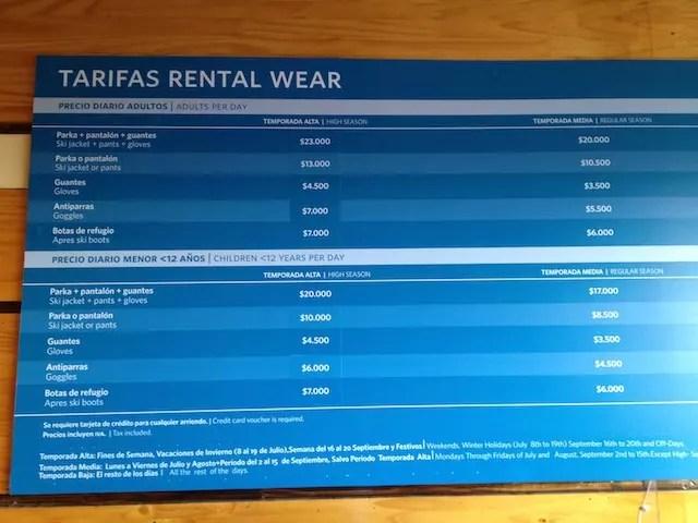 tabela de preços das roupas