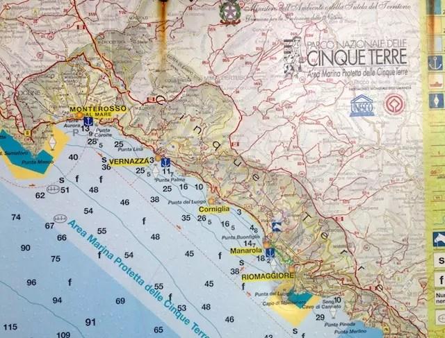 Para localizar as Cinco Terras: Monterosso, Vernaza, Corniglia, Manarola e Riomaggire
