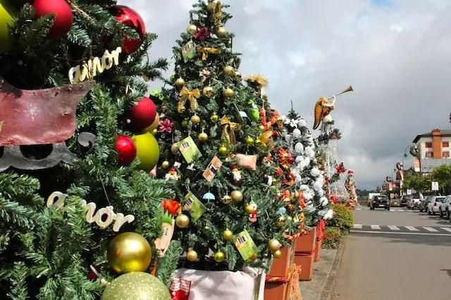 Cada loja, hotel e restaurante tem a sua árvore decorada na Borges de Medeiros de Gramado