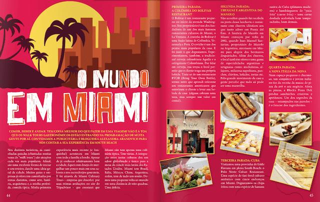 Matéria que assinei na revista sobre tour gastronômico em Miami