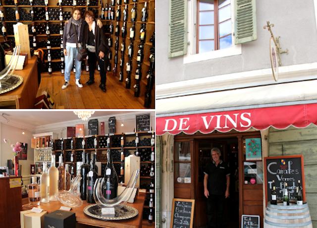 """Eu e """"Madame Carouge""""na loja de vinhos onde o proprietária faz pose na porta."""