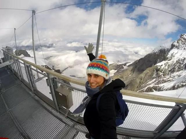 nas nuvens! No topo de Jungfrau