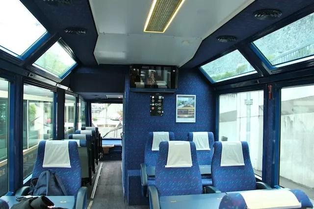 a área vip do trem onde a vista é ainda mais especial pois tem janela no teto