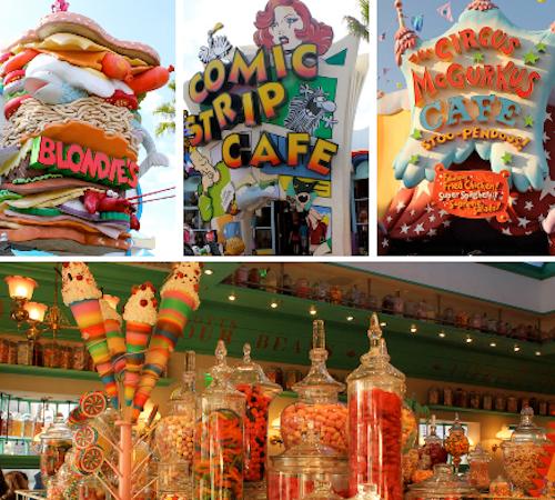 NO UNIVERSAL ISLAND:  lancherias, restaurante de comida rápida e as guloseimas da loja Harry Potter