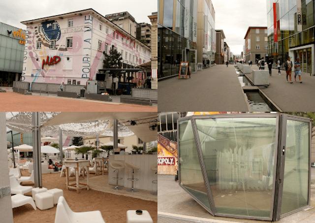 A área de Flon: a boate mais popular da cidade (MAD CLUB), um bar que imita a praia e os banheiros públicos transparentes (quem tem coragem de ir?)