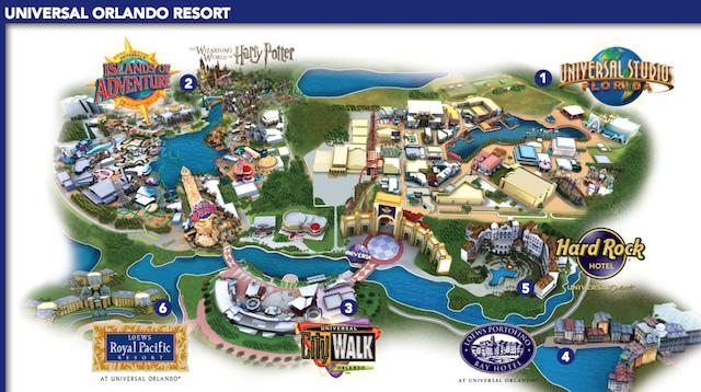 Mapa da área: na entrada, logo após o estacionamento está o City Wallk À esquerda, o Island of Adventure e à direita, o Universal Studios