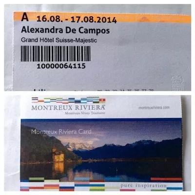 frente e verso do cartão para transporte gratuito de quem se hospeda em hotéis em Montreux. Uma facilidade clássica da Suíça para os turistas