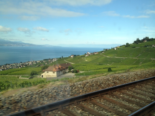 Viajando de trem com Swiss Pass de Lausanne para Montreux, a vista dos vinhedos de Lavaux