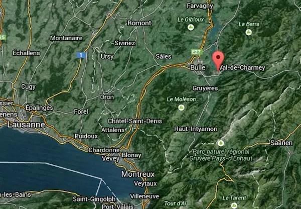 Onde fica: acima da região do Lago de Genebra (onde esta Lausanne e Montreux) nos pré-alpes. Mapa: Google Maps