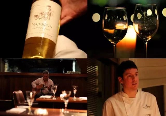 o Chef, a viola de fundo e o vinho branco para acompanhar o peixe da primeira noite