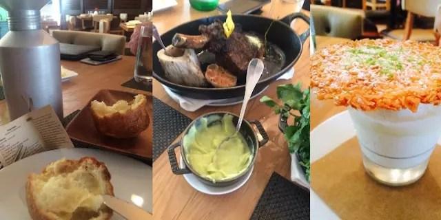 Delícias do BLT Steak: Popovers, carnes e Key Lime (panna cotta com coconut sobert)
