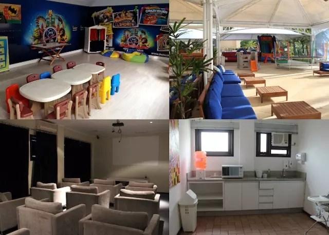 A sala kids, a sala de cinema, a minicozinha e o espaço outdoor em frente à piscina