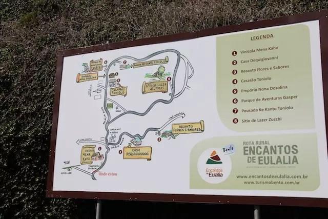 O mapa da rota Rural Encantos de Eulália que finaliza no Parque
