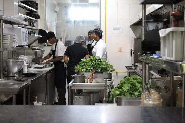 Na entrada dá para ver a cozinha e as folhas de jambú