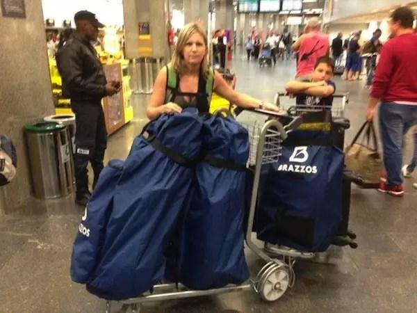 primeira viagem com os equipamentos na bagagem