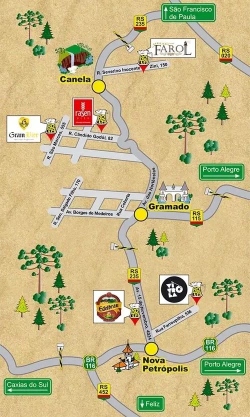 Mapa divulgação Rota Cervejeira Serra Gaúcha